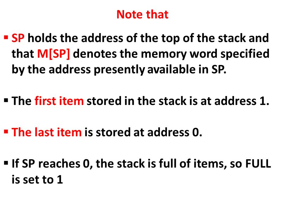 Note that SP holds the address of the top of the stack and that M[SP] denotes the memory word specified by the address presently available in SP.